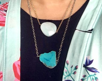 Arizona turquoise geode oxidized Sterling silver chain necklace one of a kind