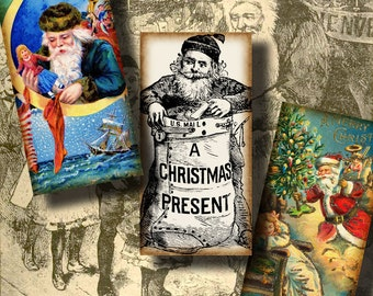 Kris Kringle, Santa Claus, St Nicholas - Digital collage sheet - 30 Dominos 1x2 or bamboo size - See Promo Offer