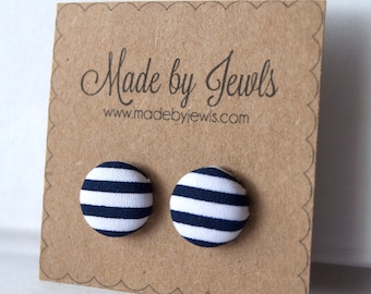 Navy Blue and White Stripe Nautical Fabric Covered Hypoallergenic Button Post Stud Earrings 10mm