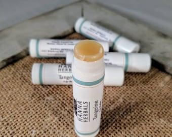 Moisturizing organic lip balm, Peppermint or Tangerine - set of five - calendula lip balm - herbal lip balm - dry skin - Christmas