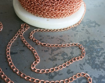 Copper Curb Chain, Lighweight 2.4x4mm links, bulk chain by the Inch, Soldered Drawn Curb, Choice of finish