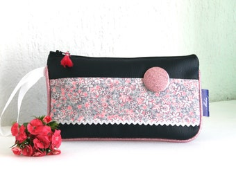 Popsy leatherette pouch and Navy blue cotton Collection Melanie