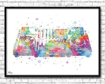 Dj turntable, poster for dj, watercolor art, poster disco facilitator evening electronic music, Christmas gift, black friday