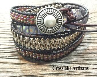 Leather wrap, beaded wrap, women's bracelet, chan luu