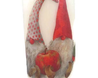 Decorated Candle, Festive Candle, Gnome Candle, Christmas Gnomes Candle, Decoupaged Candle, Large Pillar, Hand Decorated, Xmas Tree Candle