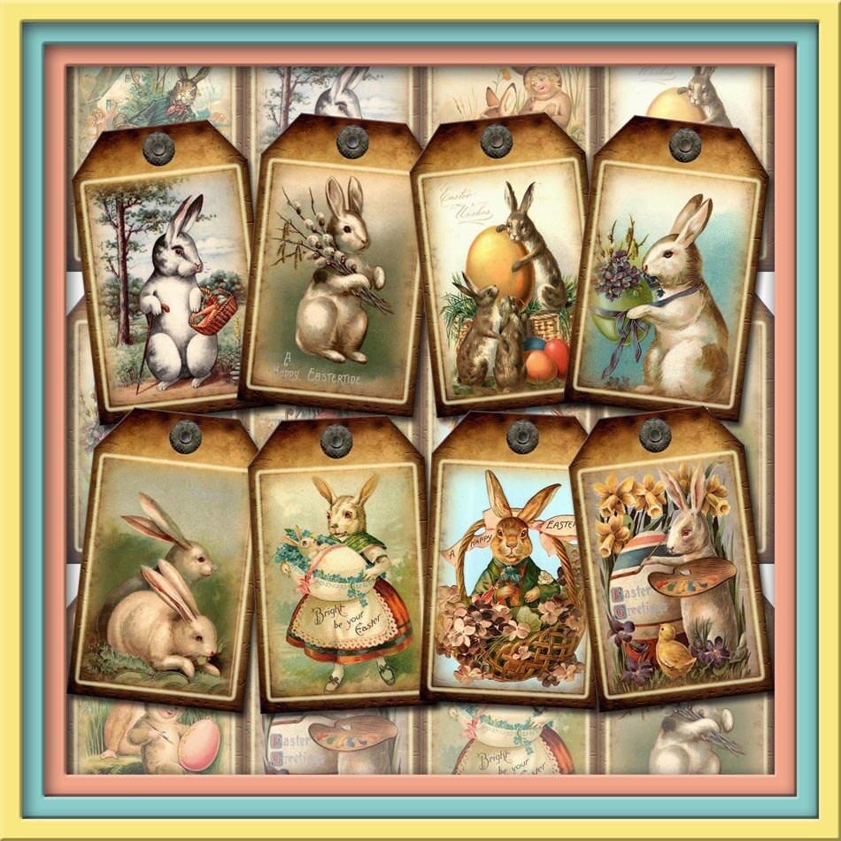 Primitive easter bunnies vintage art hanggift zoom negle Choice Image
