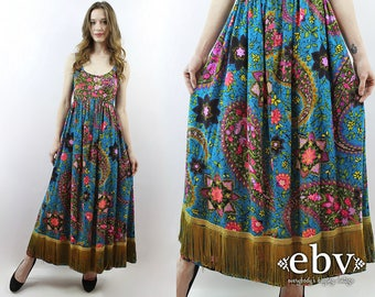 Hippie Dress Hippy Dress Boho Dress Bohemian Dress Festival Dress Fringe Dress 1970s Dress 70s Dress Floral Maxi Dress Psychedelic Dress XS