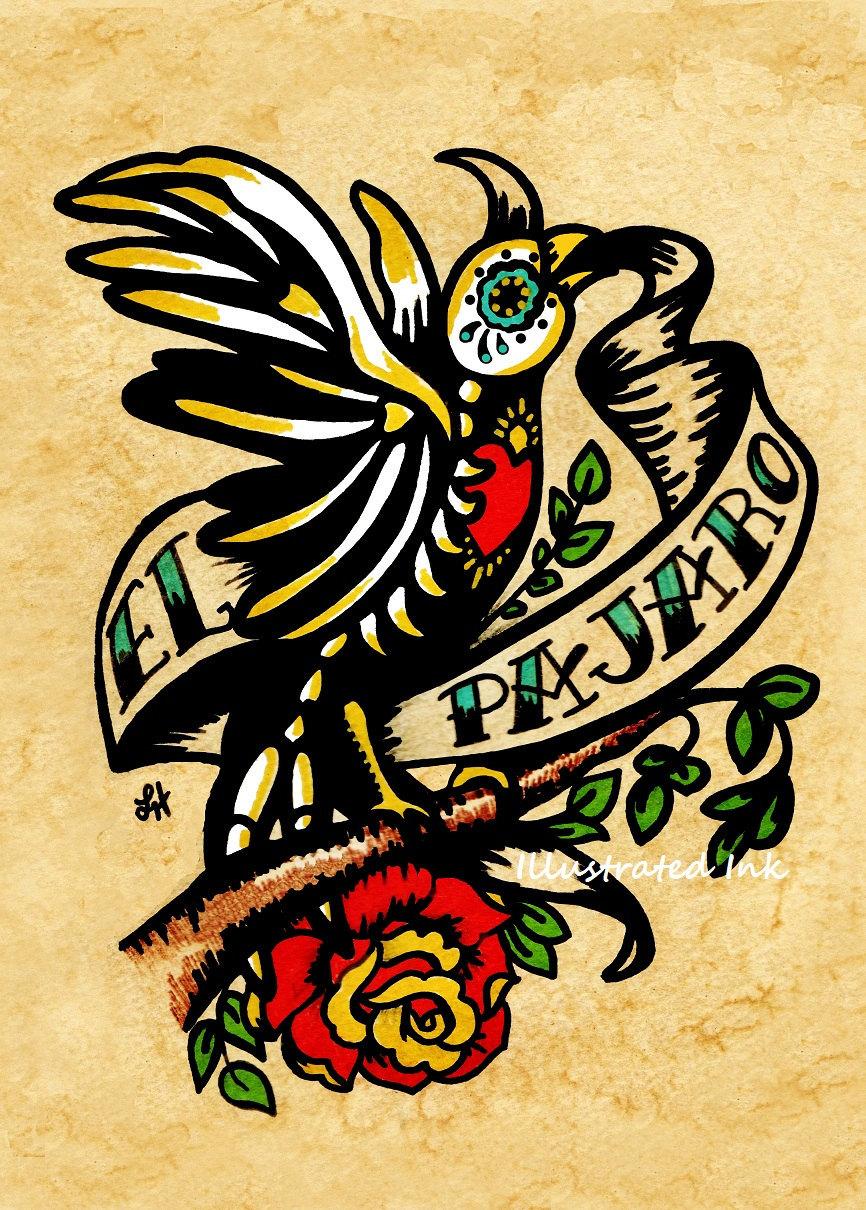 Day of the Dead Tattoo Skeleton Bird Art EL PAJARO Loteria