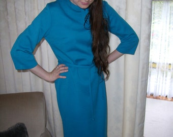 1960's Bright Blue Mad Men Style Shift Dress