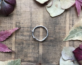 Sterling silver twig ring, stacking ring, branch ring, nature ring