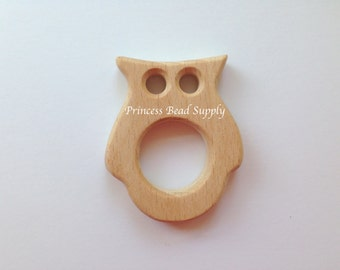 Owl Natural Wood Teether, Natural Wooden Owl Teether,  Natural Unfinished Wood Teether, Natural Wooden Beads