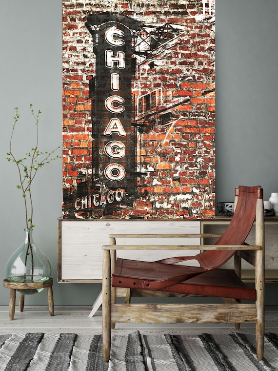 """Chicago 2, Extra Large Rustic Architectural Cityscape Canvas Art Print. Rustic Brown URBAN Canvas Art Print up to 80"""" by Irena Orlov"""