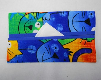 Neon Cats Tissue Cozy (blue lining)/Party Favor/Wedding Favor