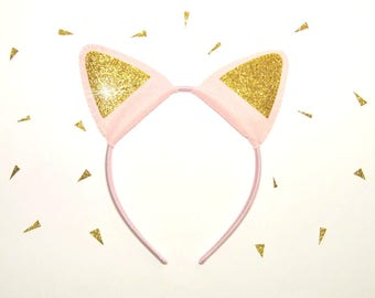 Cat ears headband Pink felt Gold glitter fabric cute girl kitty birthday wedding party favor costume accessory Gift for kids baby woman