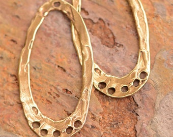 Bohemian Style Findings Oval Hoops in Bronze, One Pair, E-714, B/2