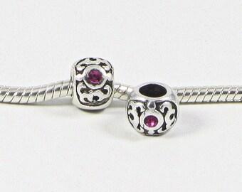 3 Beads - Pink Rhinestone Scroll Silver European Bead Charm E0689