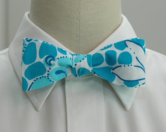 Men's Bow Tie, turquoise/aqua/white Lilly Leopard Lounge print, groom/groomsmen bow tie, pool blue bow tie, prom bow tie, tuxedo accessory