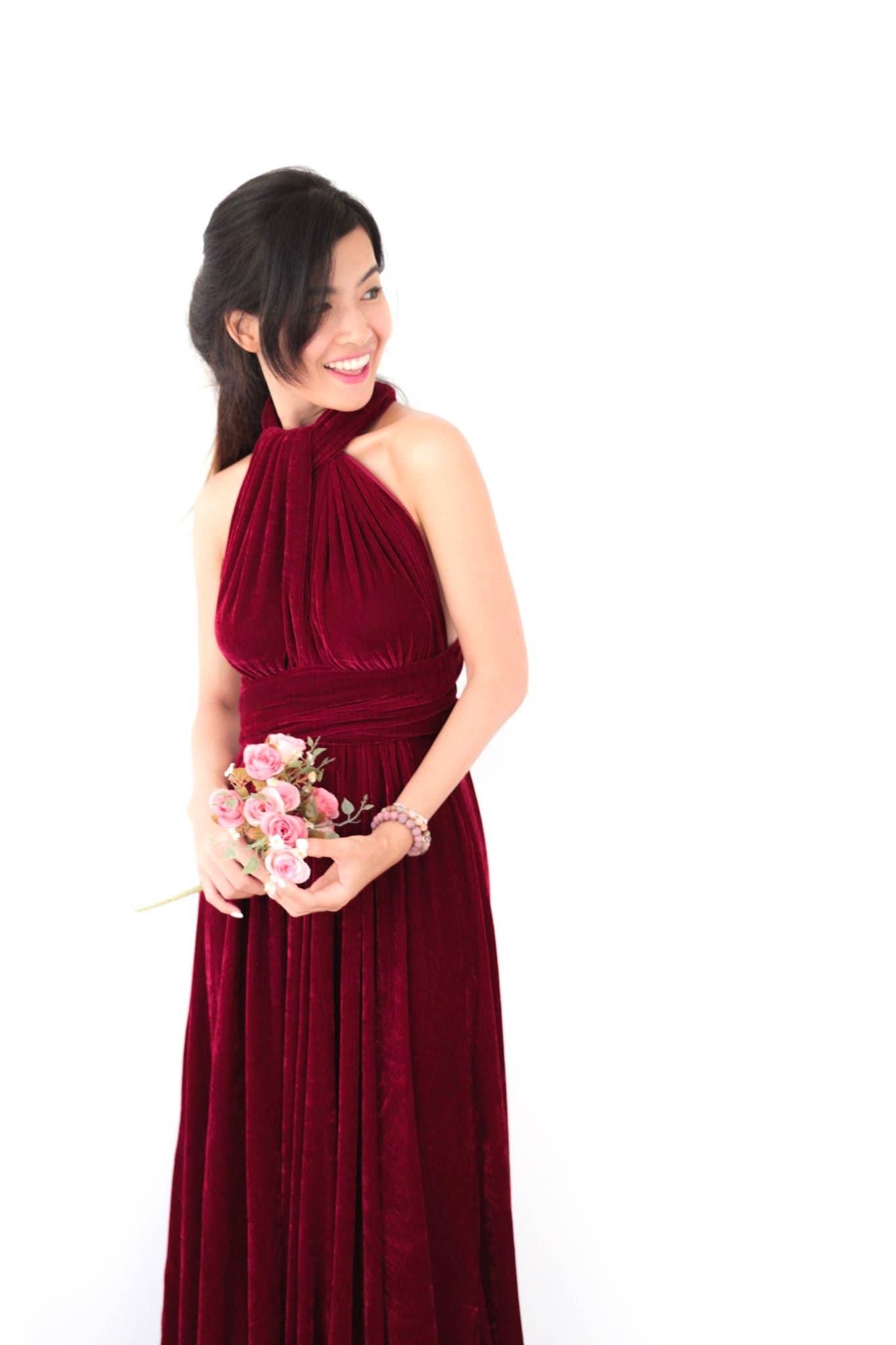 Wein samt Kleid Cabrio rotem Samt Brautjungfernkleid Kleid