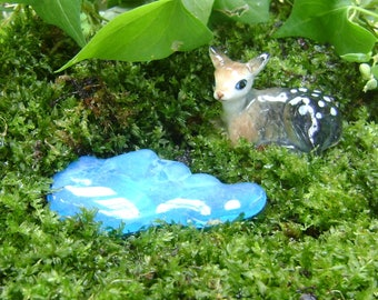 "Miniature POND for Terrarium, Stained Glass, Fairy Garden accessories, AQUA, stained glass, 2.5"" x 1.25"", fused glass"