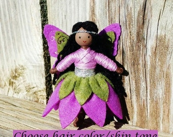 Fairy Doll - Fairy Princess - Flower Fairy - Bendy Doll - Black Fairy Doll  - Brown Skin Fairy - African American fairy - Butterfly Wings