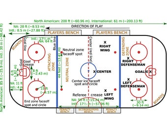 Hockey Rink #2 Measurements Layout Play Playbook Coach Arena Ice Team Game League School Sports Logo.SVG .EPS .PNG Vector Cricut Cut Cutting