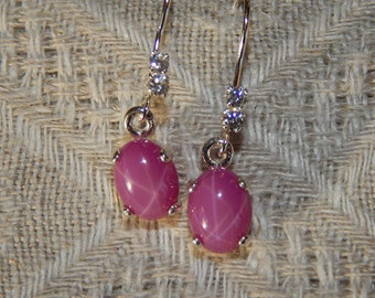 Star Ruby Earrings, Star Ruby & Diamond Simulant Earrings, Star Ruby Sterling Dangle Earrings, July Birthstone, Lab Created Star Ruby