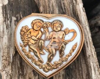 Heart Jewelry Box with Cherubs, Cherubs Heart Box, Trinket Box, Heart Shaped Box, Vintage, Japan, Decor, Gift
