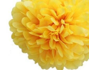 "14"" Yellow Tissue Paper Pom Poms- Large Paper Flower Pom- Wedding Decoartion- Baby Shower- Bridal Decor- Hanging Room Paper Pom- Lemonade"