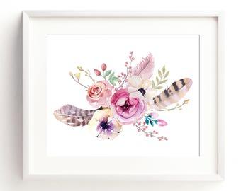 Bouquet print, Boho wall art, Floral print, Flowers, Watercolor print, Digital Wall Art, Best Selling Items, Downloadable Prints, Wall Decor