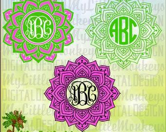 Mandala SVG ~ Mandala Monogram SVG ~ 2 Color Mandala ~ Summer Mandala ~ Monogram Svg ~ Commercial Use SVG ~ Cut File Clipart svg-dxf-eps-png