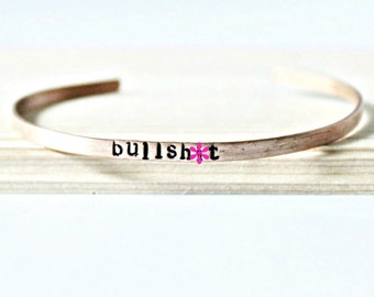 Bullsh*t, Copper Bracelet, skinny cuff, swear words, profanity, funny jewelry, adjustable, mens, mature
