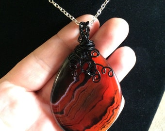 Wire wrapped agate necklace, wire wrapped agate, orange agate necklace, striped agate, wrapped necklace, pendant necklace, agate jewelry