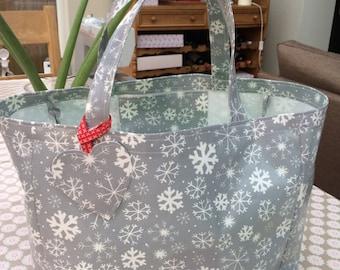 Shoulder Bag - Oilcloth Tote Bag - Tote Bag - Oilcloth bag - Shopping Tote - Shopping Bag - Snowflake Bag - Festive Bag  - Snowflake Tote
