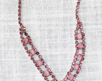Fabulous Juliana Pink Rhinestone Drop Dangle Necklace by DeLizza and Elster