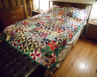 """Uncle Tim machine sewn quilt, PINWHEEL, reversible, Full Size, 72"""" x 85"""""""