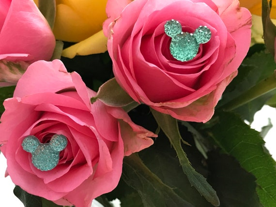 Disney Inspired Bouquet Pins-Boutonnieres-Aqua Mickey Mouse Centerpieces-Wedding Corsage (Qty 12)