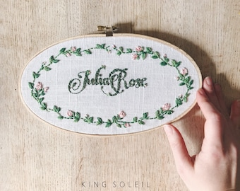 Rose Wreath Calligraphy Name Sign Embroidery