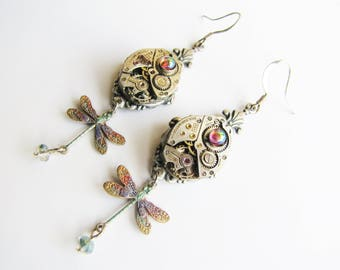 Steampunk Vintage Watch Movement Earrings with Dragonflies, Steampunk Earrings, Steampunk Dragonfly Earrings, Steampunk Watch Earrings ERG95
