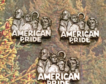 Mount Rushmore 4 Presidents USA Charm - 4 pieces-(Antique Pewter Silver Finish)--style 605--