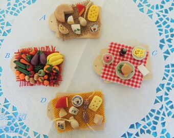 Magnets with food miniatures handcrafted in 1:12 scale