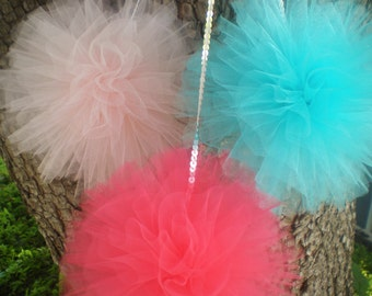"""Tulle pom poms coral aqua pink, set of 3, 8"""" diameter with sequin string"""