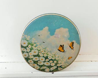Vintage, Biscuit Tin, Butterflies and Daisies, TINDECO