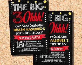 30th Birthday Invitation, 30th Birthday Party Invitation,  40th Birthday Invitation, Surprise Party Invitation, Digital Printable