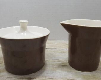 Mid Century Brown Creamer and Sugar Bowl Set, 1960s