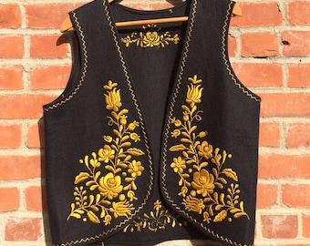 tagless treasure: golden embroidered black 'genie' vest
