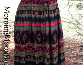 Vintage BOHO Midi DRESS, Southwestern Print, 90s Rayon Grunge, sleeveless button-down duster, Red Black Aztec Tribal, hippie gypsy festival