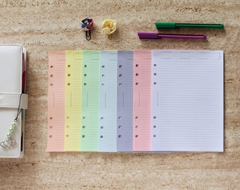 Filofax A5 inserts, coloured sheets for notes, ruled planner notepaper, pastel colour paper planner