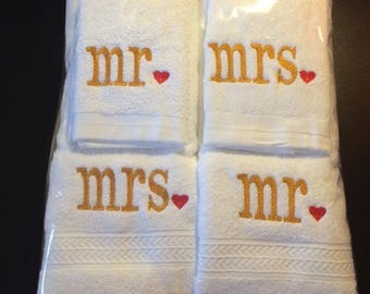 Mr and Mrs Towel Set,  Embroidered 4 Piece Towel Set, Mr and Mrs Gift, Wedding Gift, Housewarming Gift, Great Ideal Gift