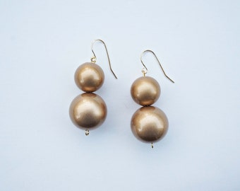 Matte Gold Bead Earrings - CHOOSE YOUR COLOR -