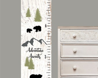 Children's Growth Chart - Nursery Art - Woodland  growth chart kids canvas room decor nature bears and mountains theme